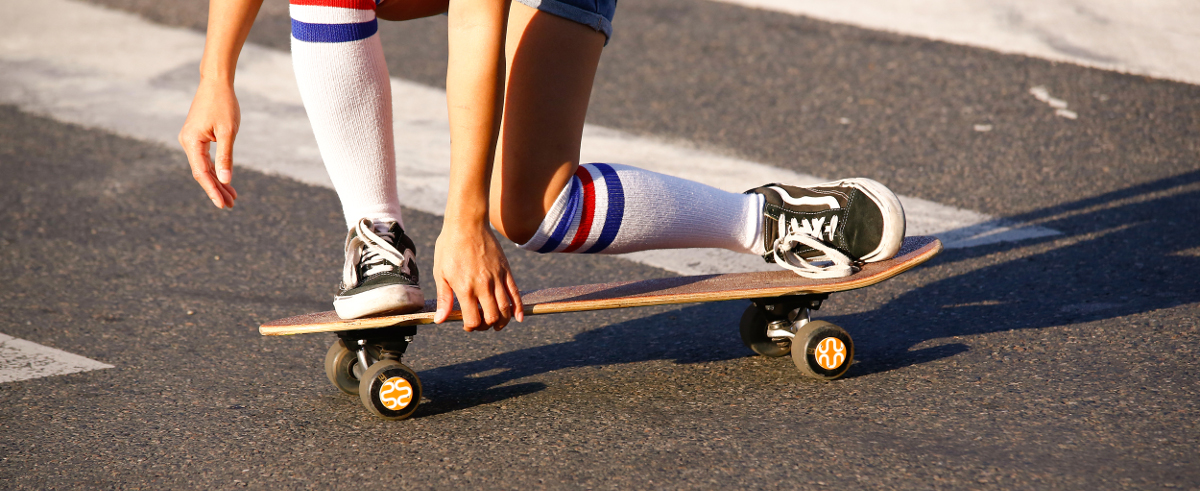 Girl on longboard