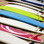 Colorful surf boards on the beach surfboard