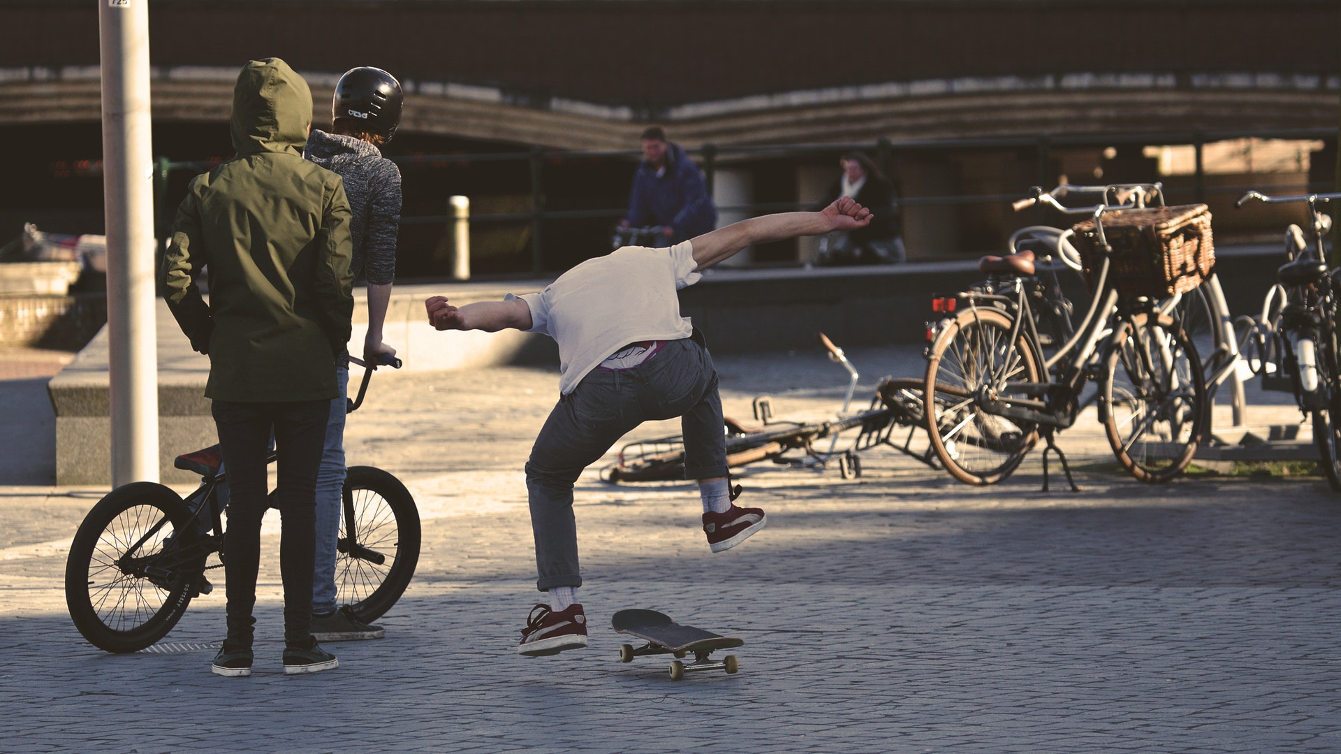 Skater with Bikers