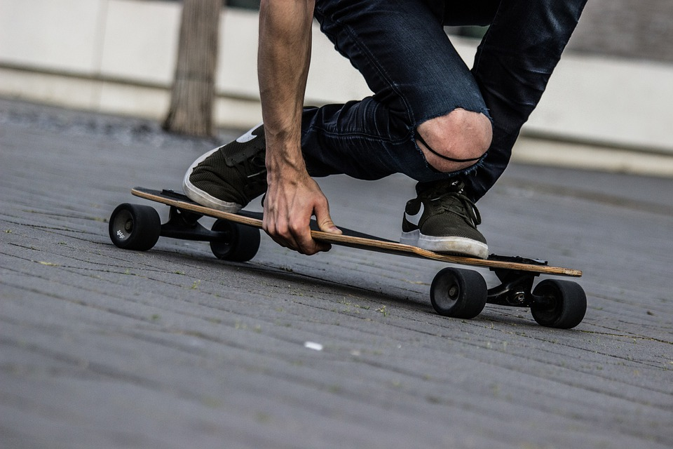 Man riding longboard